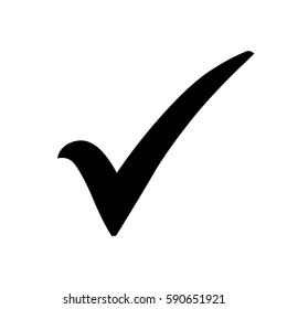 Black check mark icon. Tick symbol in black color, vector illustration.
