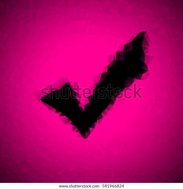 black check mark on a pink background