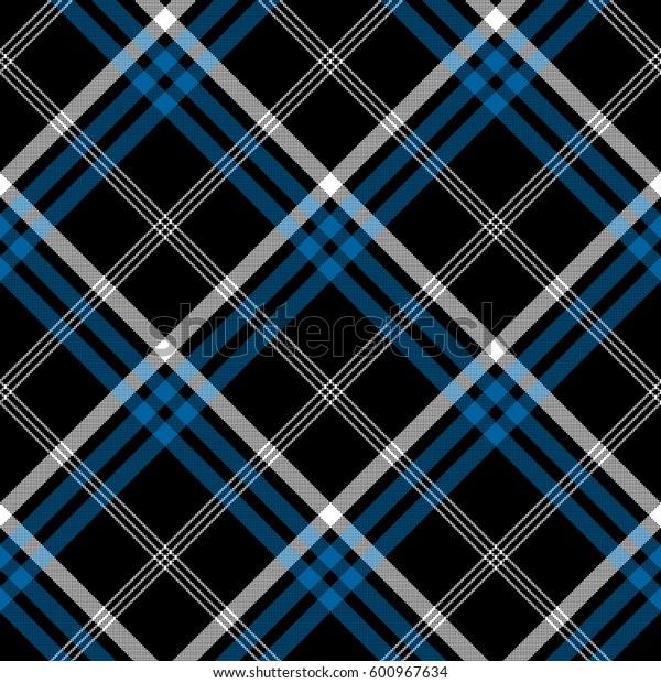 Black check seamless diagonal fabric texture. Vector illustration.