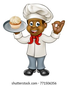 A black chef or baker cartoon character holding a plate with a cupcake or fairy cake on it