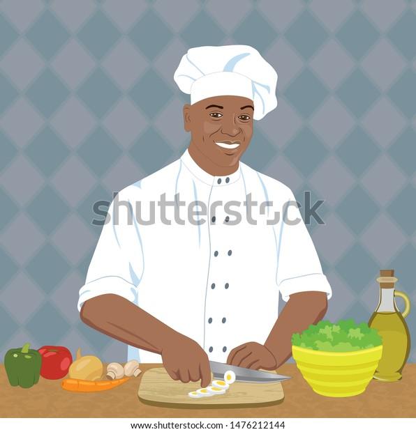 Black Chef Making A Salad