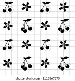 Black cherry icon and cherry blossom flowers in lineal grid and white background. Vector illustration. Seamless line pattern. Nature sketch. Geometrical grid.