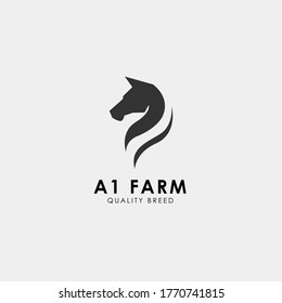 Black Chess Knight Horse Stallion silhouette logo design