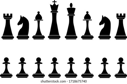 Black chess pieces vector illustration