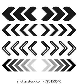 Black chevron arrow set icon, on the white background. Flat design. Vector.