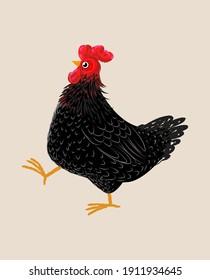Black chicken character icon vector illustration. Sketch,rough, black, art line,engraving farm animal.