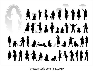 Black children's silhouettes on a white background.