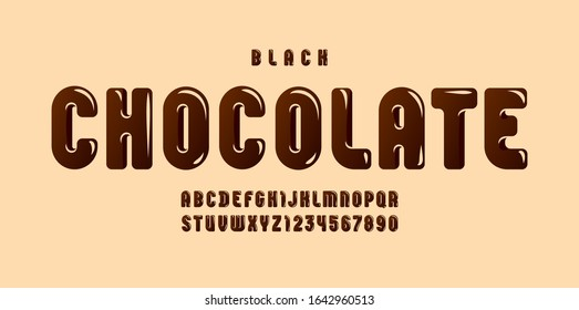 Black Chocolate glossy font, brown alphabet in the cartoon style, tasty rounded letters from A to Z and numbers from 0 to 9 for you designs, vector illustration 10EPS