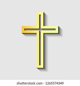 Black christian cross icon. Hand drawn christian cross. Abstract linear christian cross. Vector illustration.