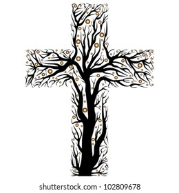 black christian cross, tree shape  on a white background - vector illustration