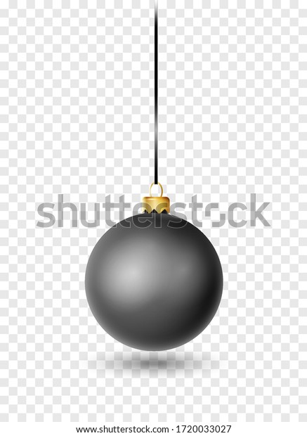 Black Christmas ball with ribbon and bow. Realistic isolated vector. New year toy decoration. Holiday decoration element