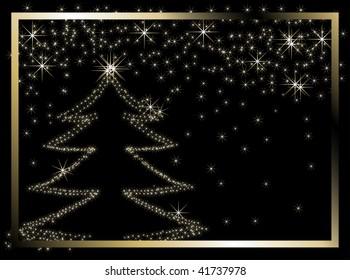 Black christmas frame - vector illustration