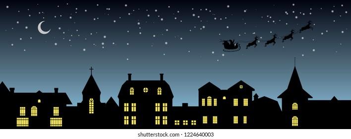 Black christmas panorama. Night city silhouette. Celebration scene. Isolated village landscape. Holidays graphic. Vector illustration