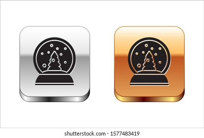Black Christmas snow globe with fallen snow and christmas tree icon isolated on white background. Merry Christmas and Happy New Year. Silver-gold square button. Vector Illustration