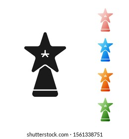 Black Christmas star icon isolated on white background. Merry Christmas and Happy New Year. Set icons colorful. Vector Illustration