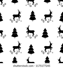 Black christmas tree and deer seamless pattern. Fashion graphic background design. Modern stylish abstract texture. Monochrome template for prints, textiles, wrapping, wallpaper. Vector illustration