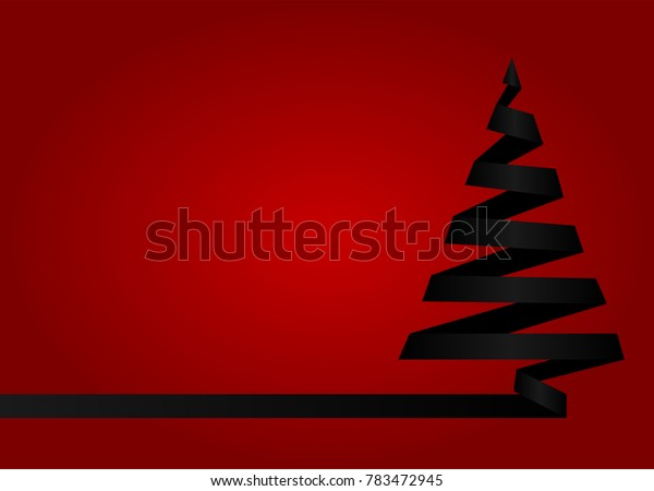 Black christmas tree made from ribbon on red background. Vector illustration. Marry Christmas and Happy New Year poster, flyer, gritting card or banner