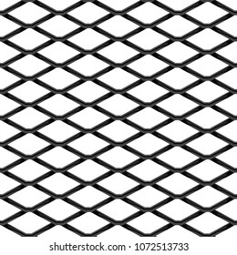 Black chrome Steel Grating seamless structure. Chainlink isolated on white background.  Vector illustration. EPS 10.