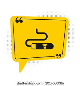Black Cigar icon isolated on white background. Yellow speech bubble symbol. Vector