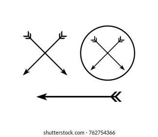 Black Circle Cross Arrow Symbol Logo Vector