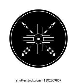 Black circle. Design element based on American Indian tribal art. For tattoos, logos and other of your creativity. Stock vector.