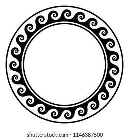 Black circle frame with running wave pattern. Seamless spiral meander design. Waves shaped into repeated motif. Scroll pattern. Decorative border. Also called Vitruvian wave or Vitruvian scroll. Vector