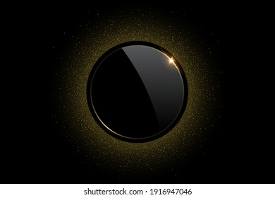 Black circle with golden ring and glitter abstract background. Round electric light frame with sparkle. Geometric fashion design vector illustration. Empty minimal ring art decoration.