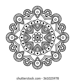 Black circle simple indian mandala, abstract vector illustration
