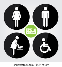 Black Circle Toilet Sign with Black Circle Background, Man Sign, Women Sign, Baby Changing Sign, Handicap Sign - EPS10 Vector