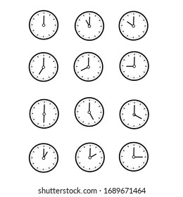 black circle wall clock showing 1 to 12 hours