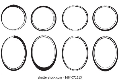 Black circles and ovals on a white background. Frames for text or pictures. Vector illustration