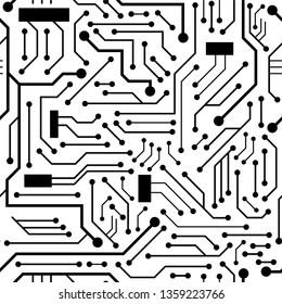 Black circuit board seamless pattern