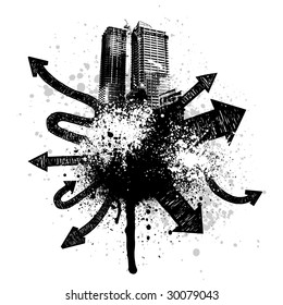 Black city buildings and graffiti grunge arrow design