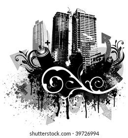 Black city buildings and graffiti grunge floral arrow design