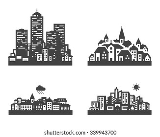 black city icon set. signs and symbols