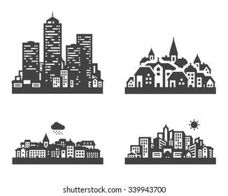 black city icon set. signs and symbols
