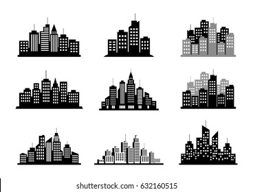 Black city icons on white background