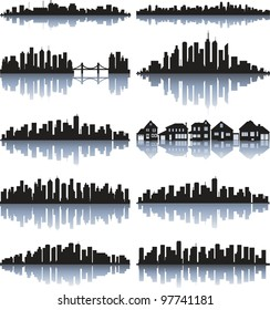 Black cityscape silhouette with reflection
