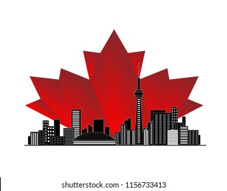 Black cityscape Toronto city illustration with Red maple leaf Canadian lawyer symbol background. Canada Citizenship immigration vector. Concept of Express Entry or family sponsorship, approved visa