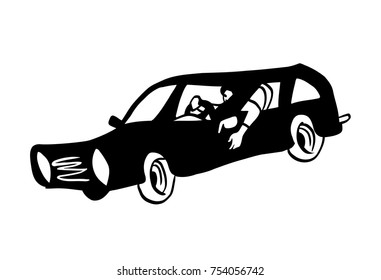 Black classic car with a driver inside. Vector illustration.