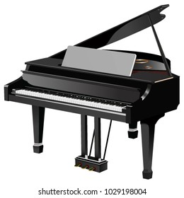 Black, classic, grand piano vector illustration with the lid open.