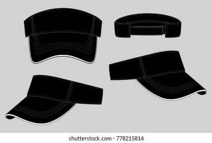 Black classic visor cap or hat for template