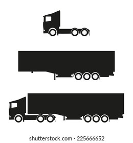 Black clean vector lorry with trailer silhouettes