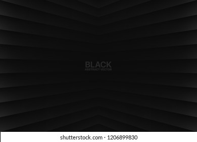 Black Clear Blank Subtle Geometric Vector Abstract Background. Dark Empty Nobody Room Corner Surface. 3D Conceptual Sci-Fi Illustration. Minimalism Style Wallpaper