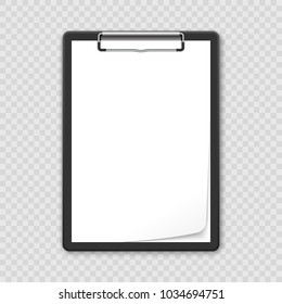 Black clipboard with blank white sheet