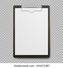 Black clipboard with blank white sheet attached on transparent background. Vector illustration. Eps 10.