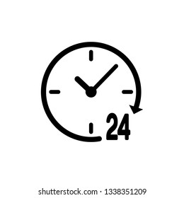 Black Clock 24 hours icon isolated on white background. All day cyclic icon. 24 hours service symbol. Vector Illustration