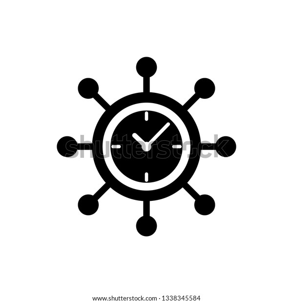 Black Clock Gear Icon Isolated On Stock Vector (Royalty Free