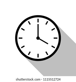 Black clock icon vector with shadow for website design in flat style. Office clock icon, Time icon. Four o'clock. Vector illustration, eps10