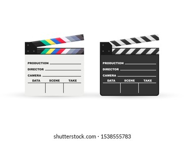 Black closed clapperboard. Black cinema slate board, device used in filmmaking and video production. Realistic vector stock illustration.